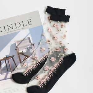 Accessories - New! sexy transparent flower socks